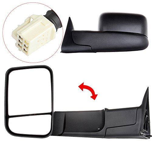Scitoo Power Heated Side View Towing Mirrors for 98-02 Dodge Ram 1500-3500 Truck Black Rear View Rearview Side Mirrors Tow Mirror Pair Set (1998-2002 Power Heated) (Tow Mirrors For 01 Dodge 2500 compare prices)