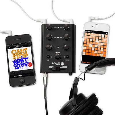 Pokketmixer Portable Mini-Dj-Mixer, Mix Your Music Spontaneously, Live, Anywhere And At Anytime You Want, Black