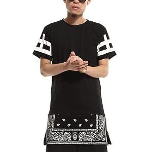 Zero Unisex Cashews Tattoos Hip Hop Side Zip up Extra Long T Shirts (3XL ( US Size 2XL ), Black)