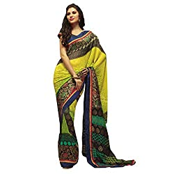 radhika georgette saree with unstiched blouse rs_33813_yellow