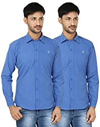 FOCIL Blue & Blue Solid Full Sleeves Casual Shirt