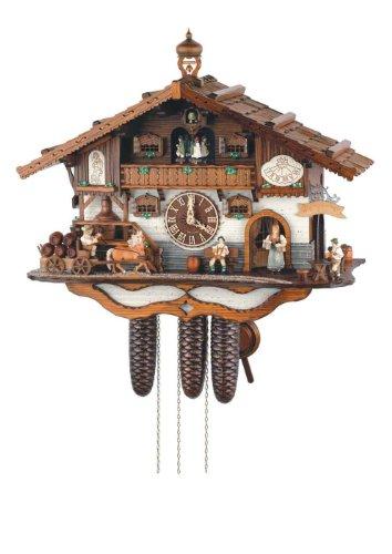 Schneider Black Forest 21 Inch Musical Rural Beer Garden 8 Day Movement Cuckoo Clock