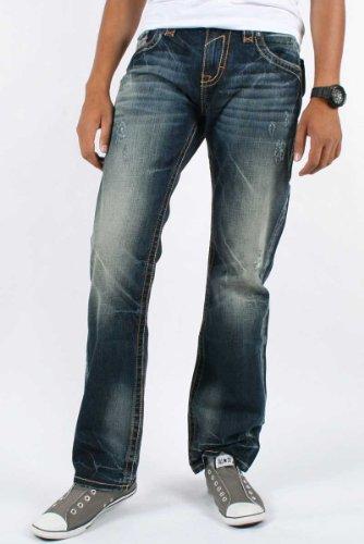 Rock Revival - Mens George Straight Leg Jeans in Color 09, Size: 30, Color: Denim
