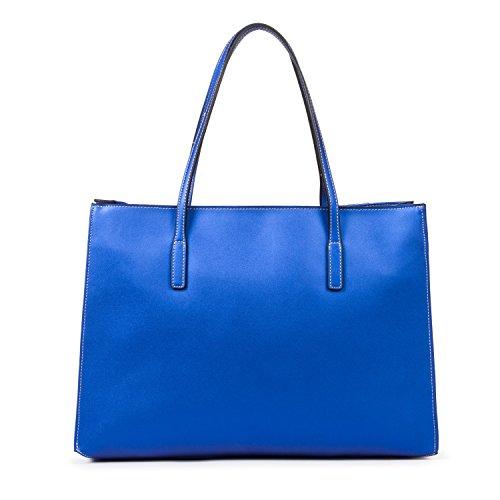 women-leather-solid-business-school-travel-tote-bag-handbag-shiny-blue