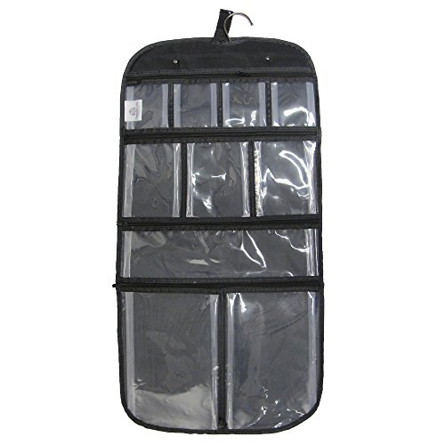 household-essentials-hanging-travel-bag-for-toiletries-cosmetics-or-jewelry-clear-compartments-black