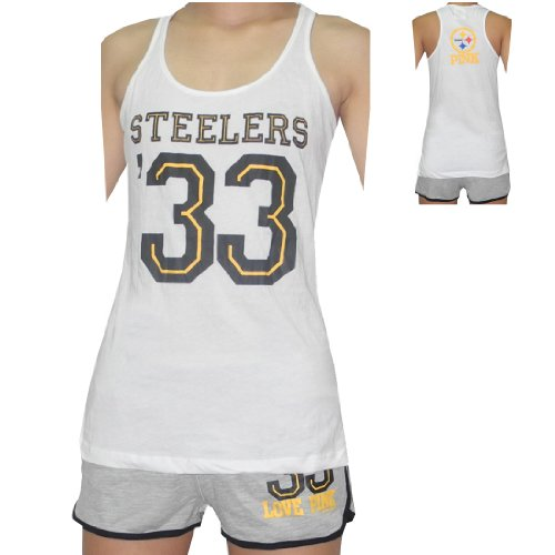 ca293154a 2 PIECE SET  NFL PITTSBURGH STEELERS  33 Womens Sports Tank Top and Shorts  Set at SteelerMania