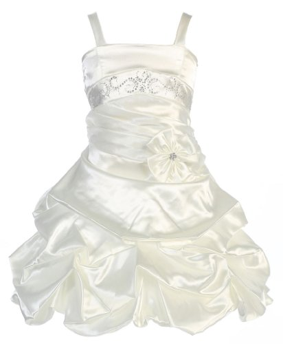 Wonder Girl Curly Sue Big Girls' Satin Short Pick Up Rhinestone Dress 10 Ivory