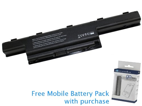 Gateway NV53A24U Battery 48Wh, 4400mAh with independent Mobile Battery Pack