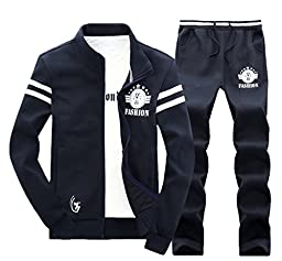Chickle Men\'s Stand Collor Front Zip Cotton Jacket Pants Suit Set 2XL Blue