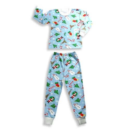 Saras Prints - Little Boys Long Sleeve Winter And Holiday Pajamas, Light Blue 18331-2