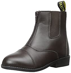 Saxon Equileather Zip Front Boot Paddock Childs 12 Brown