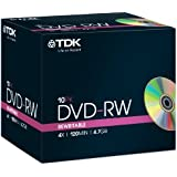 TDK DVD-RW Recordable Disk Rewritable Cased 4x Speed 120min 4.7Gb Ref DVDRW474X10 [Pack of 10]