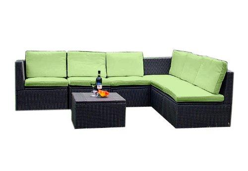 Gartenmöbel 7tlg. Sitzgruppe Poly Rattan Lounge Garten Garnitur grun