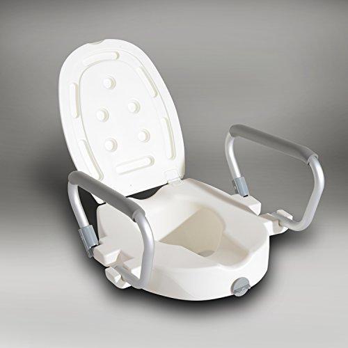 Homcom - Rialzo per WC con Coperchio Altezza Regolabile 95mm con Braccioli di Sostegno in Alluminio Bianco