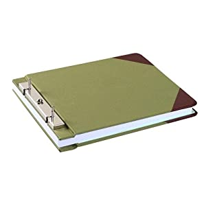 "Wilson Jones Canvas Sectional StoragePost Binder For 8-1/2 X 11 Sheets, 4-1/4"" Post Spacing, Green Canvas, W278-27A"