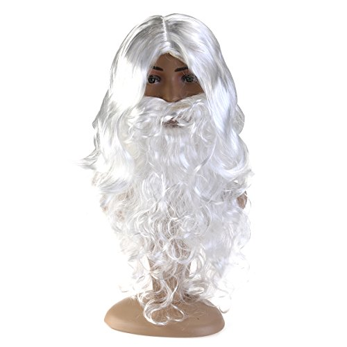 PIXNOR Santa Dress Costume Wig and Beard Set for Christmas Halloween (Child Santa Wig And Beard)