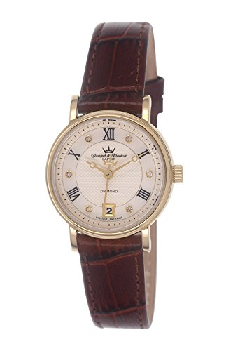 Yonger & Bresson - DCP 1689/02 Ladies Watch - Analogue Quartz - Silver Dial and Gold Leather Bracelet Brown