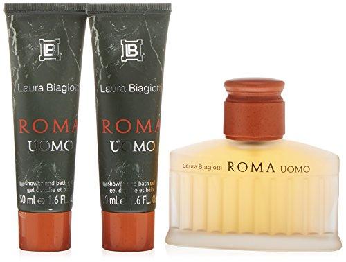 Laura Biagiotti Roma Uomo Confezione Regalo 75ml EDT + 2 x 50ml Bagnoschiuma & Gel Doccia