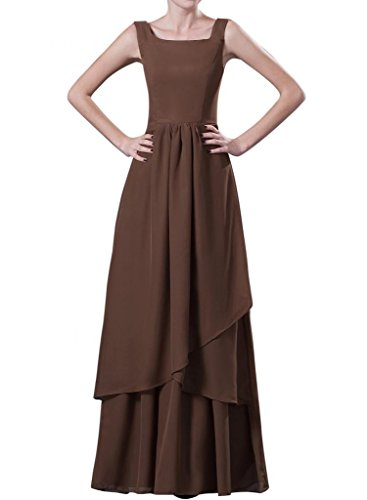 Cchappiness Women'S Floor Length Tank Chiffon Mother Of Bride Dresses With Jakcet Brown Us 4