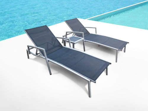 Outdoor Aluminum & Textilene Patio Pool Lounge All Weather 3 Pc Chair Recliner Set