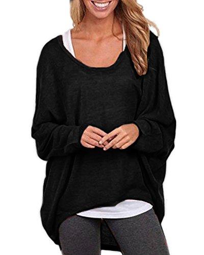 Ydarton Ladies Manica Lunga Maglione Asimmetrico Cardigan Oversize Larghi Sciolto Camicia Top Camicetta (XL, Nero)