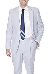Kroon Blue And White Striped Cotton Seersucker Style Suit