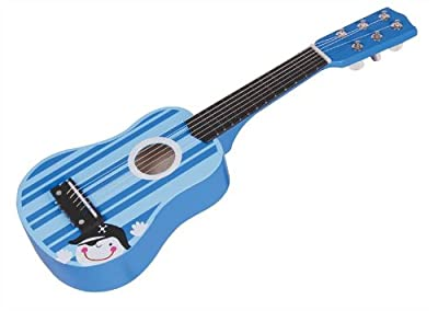 Lelin Wooden Stripe Striped Blue Pirate Guitar Childrens Kids Musical Instrument