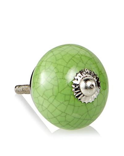 A. Sanoma Inc. Ceramic Crackle Knob, Green/Silver