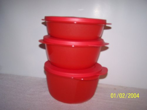 Tupperware Crystalwave 3pc Bowl Set Holiday Red