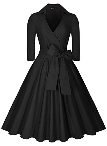 Miusol Women's Deep-V Neck Half Sleeve Bow Belt Vintage Classical Casual Swing Dress, Black, X-Large
