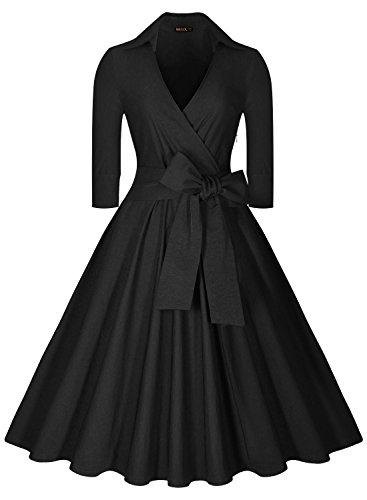 Miusol Deep-V Neck Half Sleeve Bow Belt Vintage Classical Casual Swing Dress, Black, Large (Dresses Vintage compare prices)
