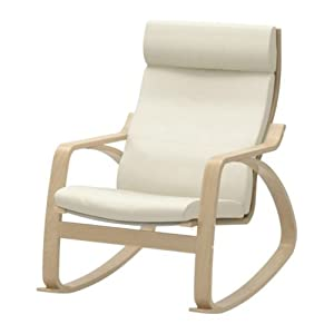 Ikea Poang Rocking Chair Birch Veneer With Robust Off White Leat
