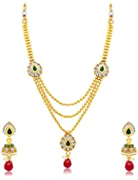 Sukkhi Astonish 3 String Gold Plated Long Haram Necklace Set For Women