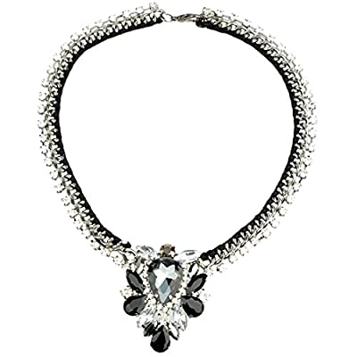 Bestime Womens Fashion Floral Shining Elegant Rhinestone Collar Decoration Necklace
