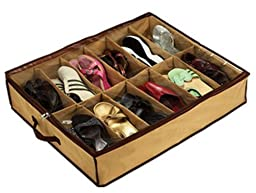 12 PAIRS OF SHOES - SHOE ORGANIZER CLOSET / UNDER BED STORAGE - AS ON TV - USA by OEM
