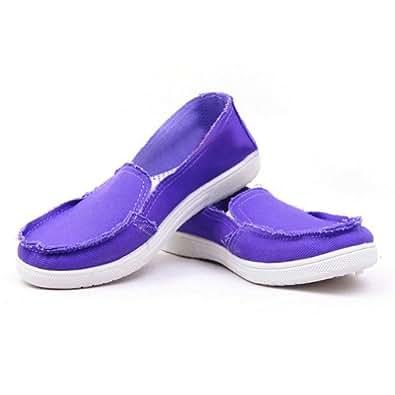 Zehui Womens Slip On Casual Sparkle Comfort Canvas Shoes Sandals Ballet Flats Slippers Purple 40