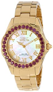 Invicta Women's 14152 Angel Mother-Of-Pearl Dial Rhodolite Garnet Accented 18k Gold Ion-Plated Stainless Steel Watch