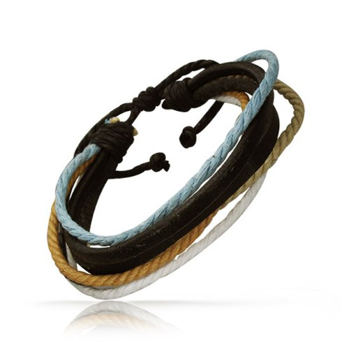 Bling Jewelry Leather with Turquoise Khaki Multi Cord Wrap Bracelet 9in