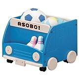 SHIRAI アソボ バス型ブックシェルフ&おもちゃ箱(キャスター付) ブルー ASB-3550BSBL