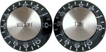Wd Music Kb130 Bell Knob Set Top 1 Volume, 1 Tone - Black/Silver