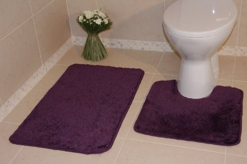 Bolero Aubergine Purple Bath and Pedestal Bathroom Mats 2 Piece Set 1030 - 2 Sizes