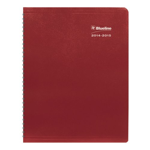 Blueline DuraGlobe Weekly Academic Planner, Twin-Wire Binding, Soft red cover 11 x 8.5 inches, Sugarcane Based Paper, 1 Planner (CA225.23T-15)
