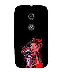 EPICCASE devil girl Mobile Back Case Cover For Moto E 2nd Generation (Designer Case)