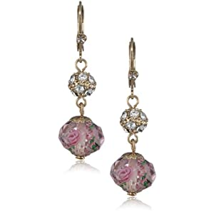 "Betsey Johnson ""Tzarina Princess"" Pink Flower Bead Drop Earrings"