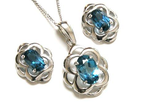 9ct White Gold Celtic London Blue Topaz Pendant and Earring set