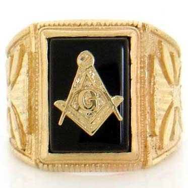 9ct Solid Yellow Gold Onyx Masonic Mens Ring Jewellery