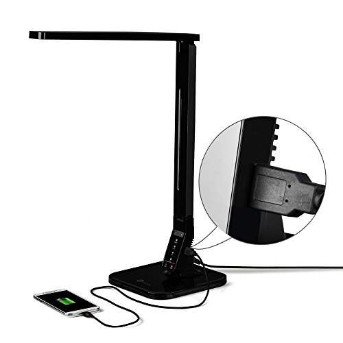 TaoTronics Elune TT-DL01 Dimmable LED Desk Lamp 5-Level Dimmer,  Touch-Sensitive Control Panel, 1-Hour Auto Timer, 5V/1A USB Charging Port -  Piano Black - TaoTronics Elune TT-DL01 Dimmable LED Desk Lamp 5-Level Dimmer