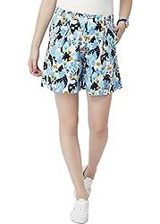 Chumbak Women's Cotton Shorts (CHWS001 S_Blue_S)