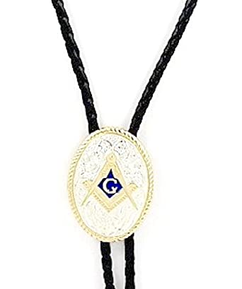 : Sterling Silver/Gold Plated Blue Enamel Masonic Bolo Tie: Clothing