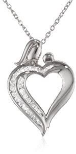 """Sterling Silver Mother and Child Diamond Heart Pendant Necklace (1/4 cttw, I-J Color, I2-I3 Clarity), 18"""""""